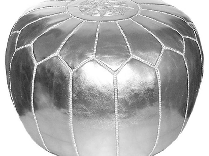 Silver Moroccan Pouf Uk