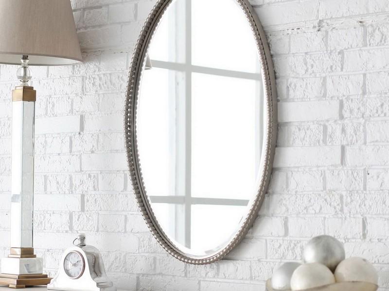 Silver Oval Mirrors Bathroom