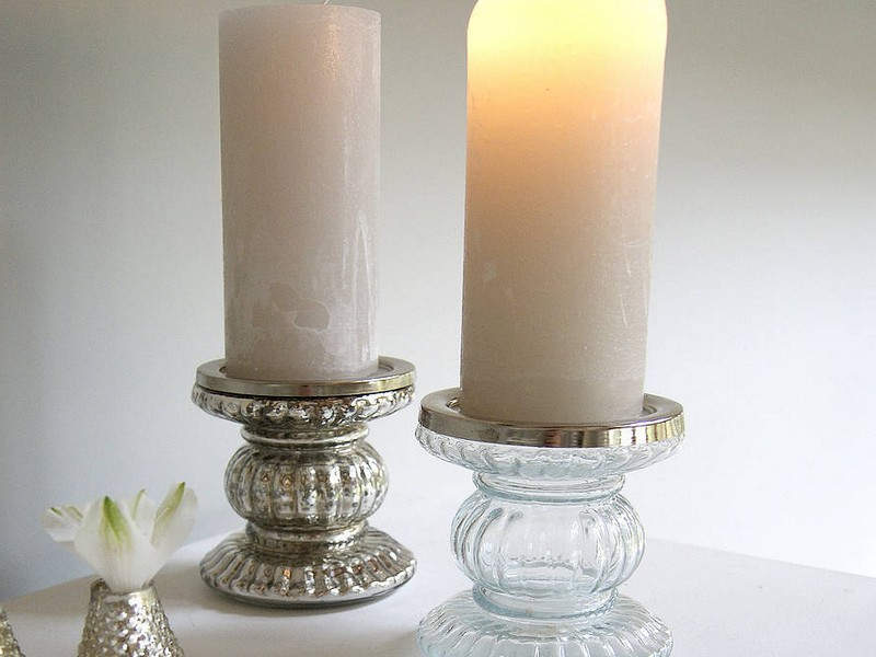 Silver Pillar Candle Holders