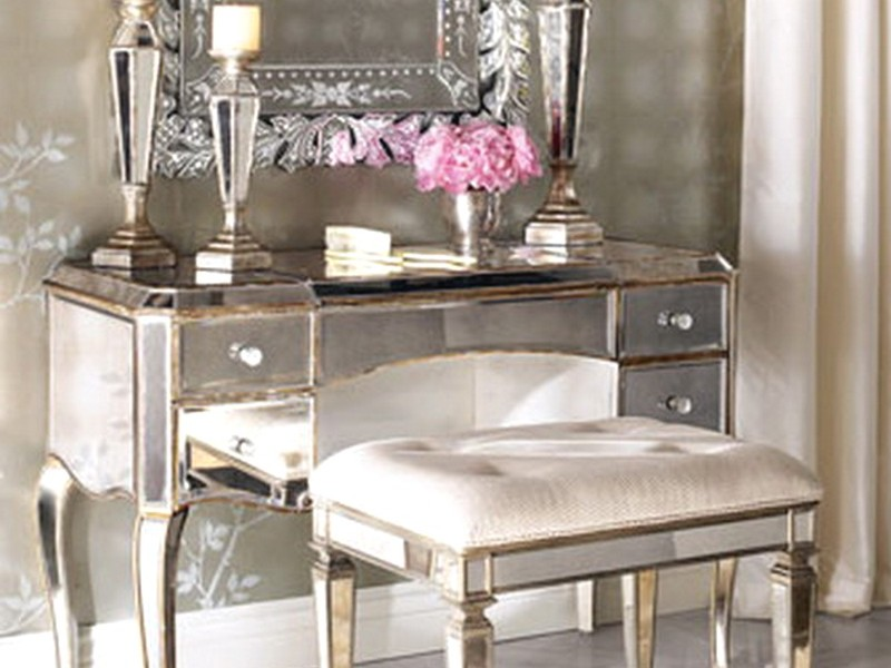 Silver Vanity Table With Mirror And Bench