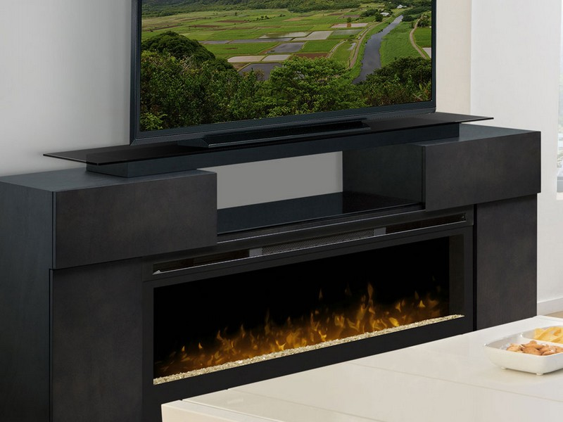 Silverado Electric Fireplace Media Console Glazed Pine