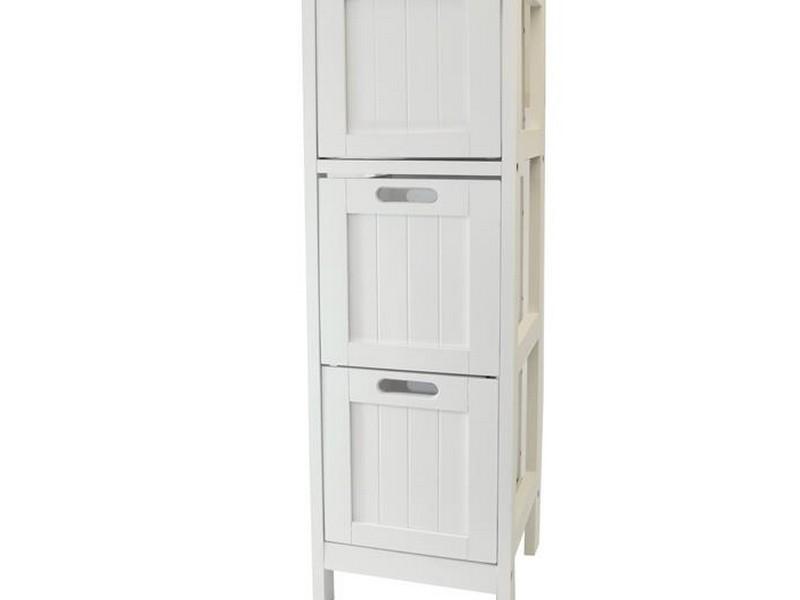 Slim White Bathroom Storage Unit