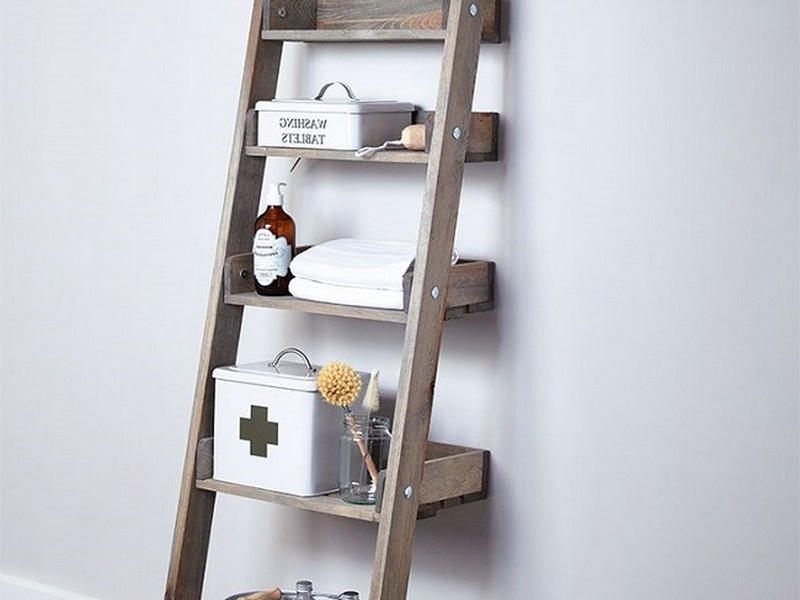 Small Ladder Shelf Bathroom