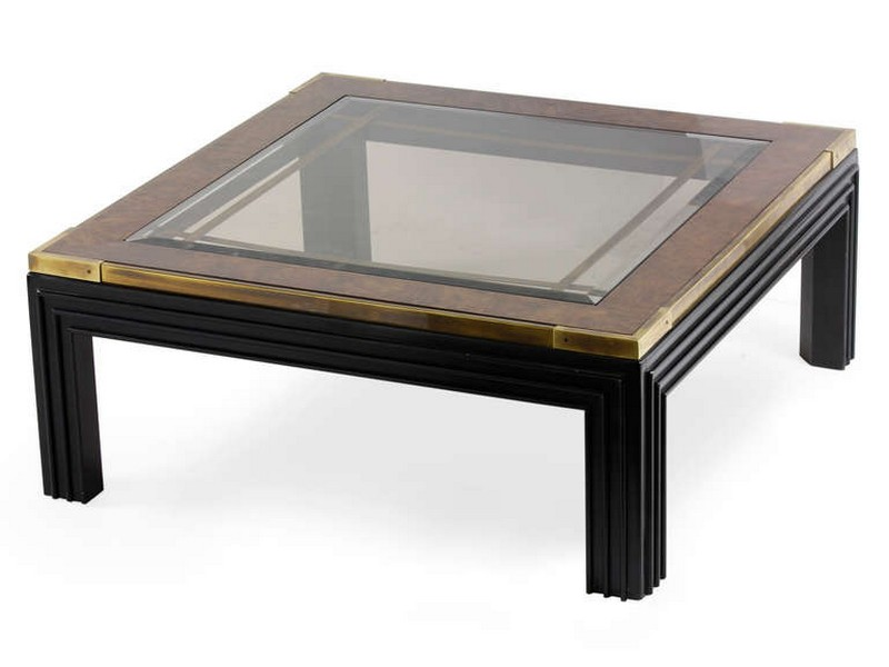 Square Glass And Wood Coffee Tables
