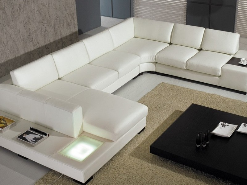 Square Leather Sectional Sofa
