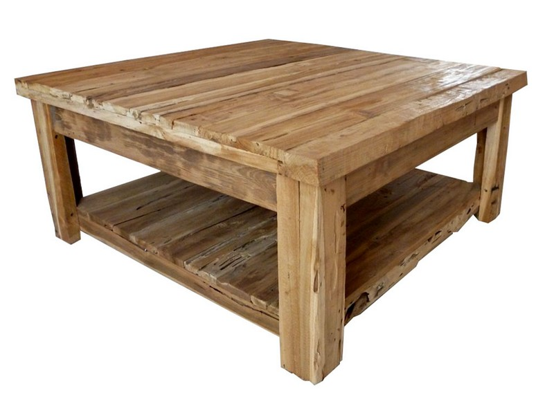 Square Oak Coffee Table With Storage
