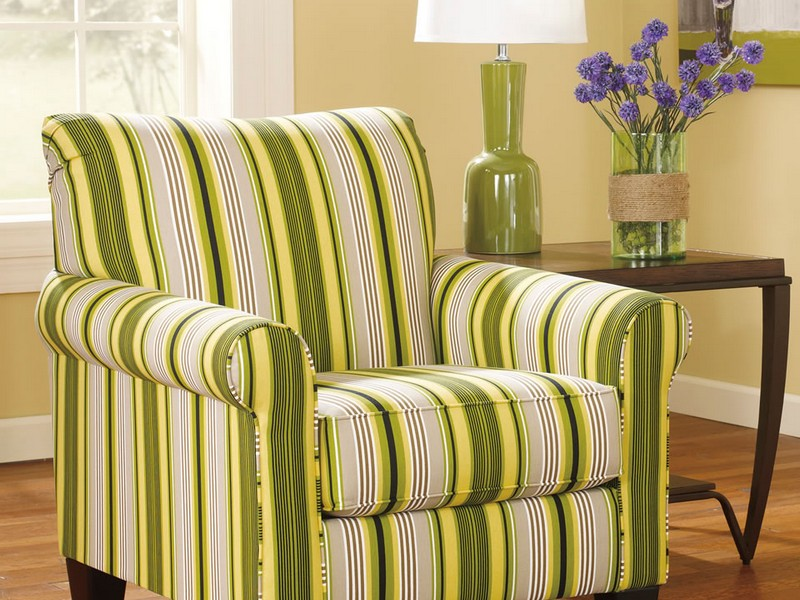 Striped Accent Chair With Arms