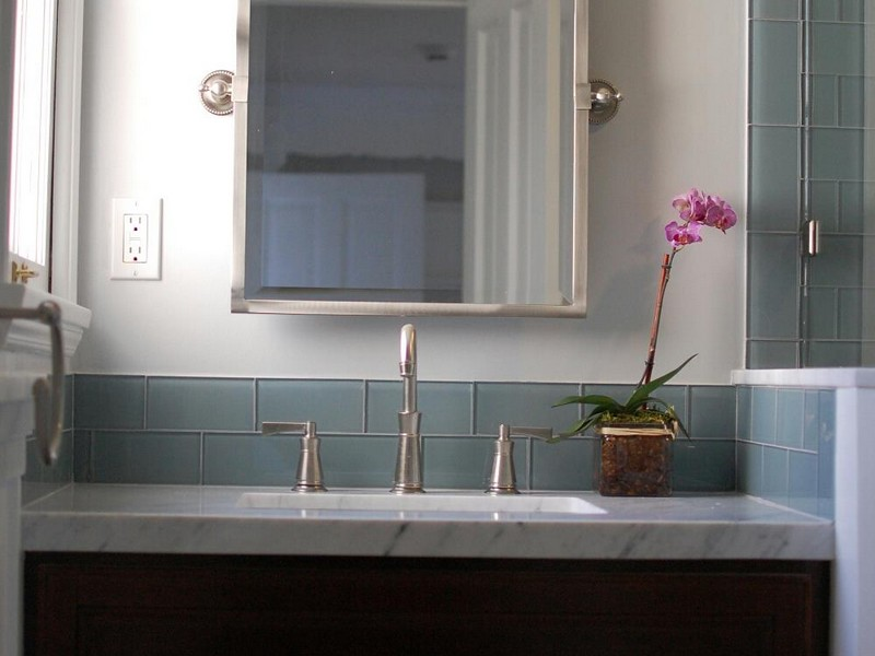 Subway Tile Backsplash In Bathroom