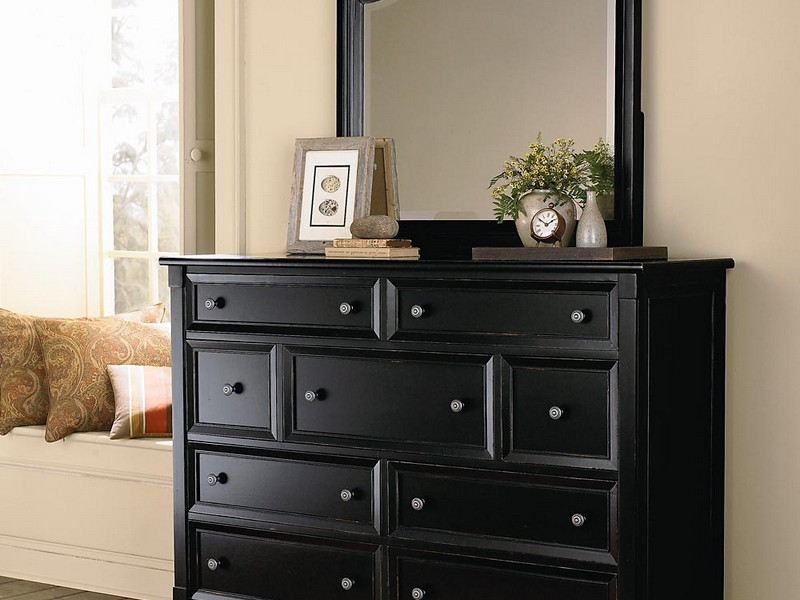 Tall Black Dresser With Mirror