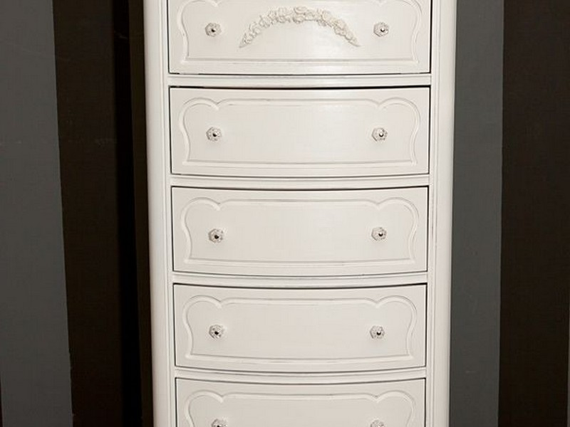 Tall White Antique Dresser