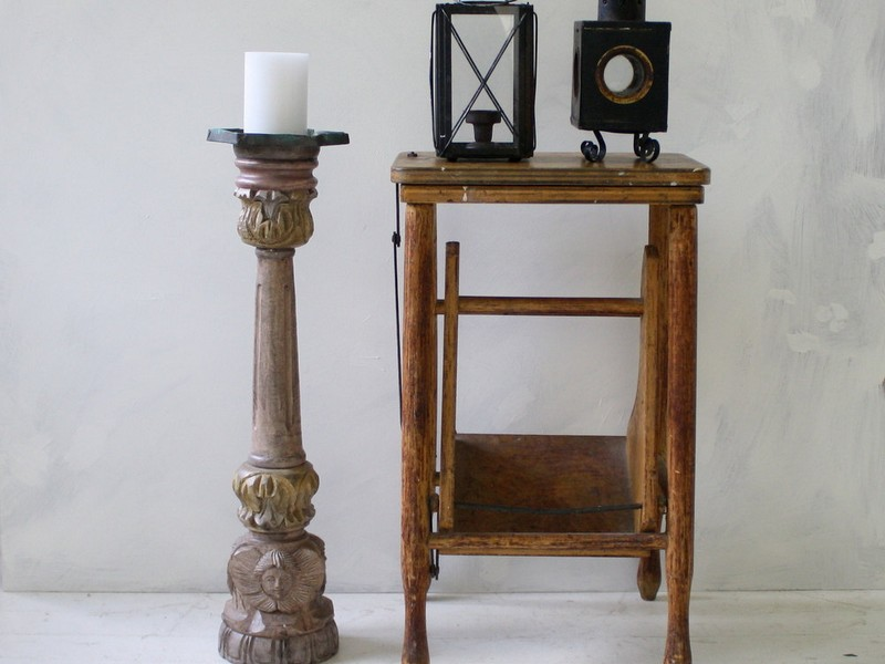 Tall Wooden Floor Candle Holders