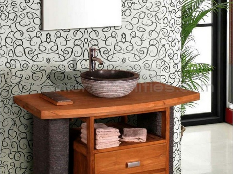 Teak Bathroom Vanity With Stone Legs