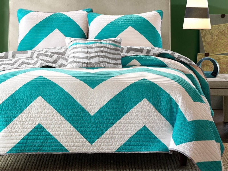 Teal Chevron Bedding Queen