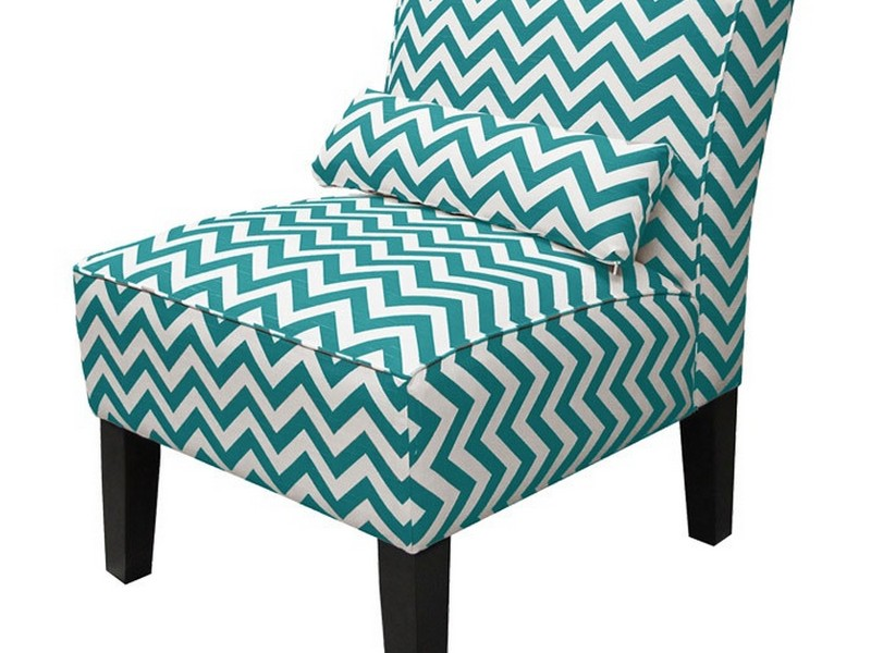 Teal Print Accent Chair