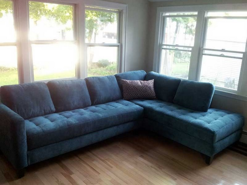 Teal Velvet Sectional Sofa
