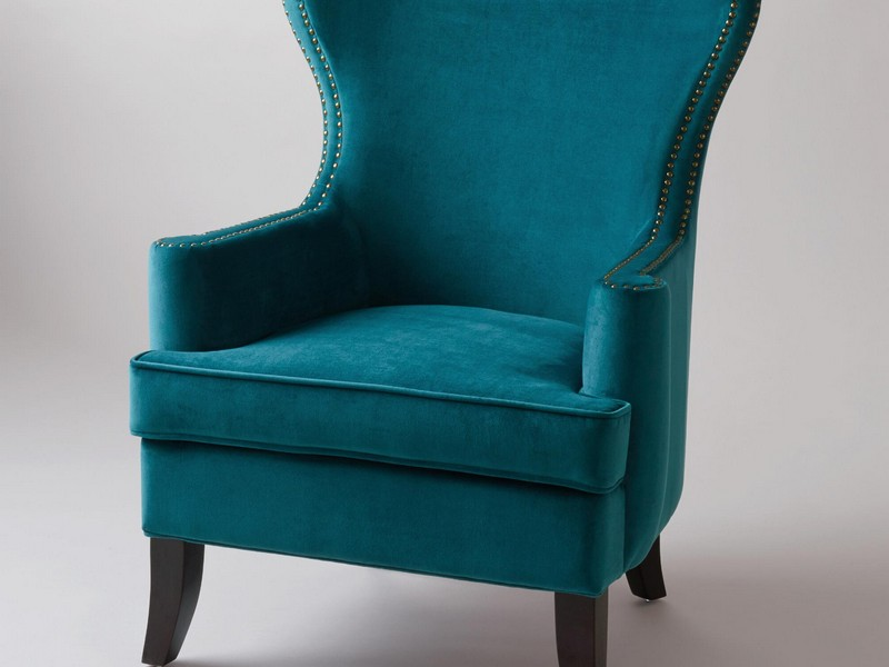Teal Wingback Chair Slipcover