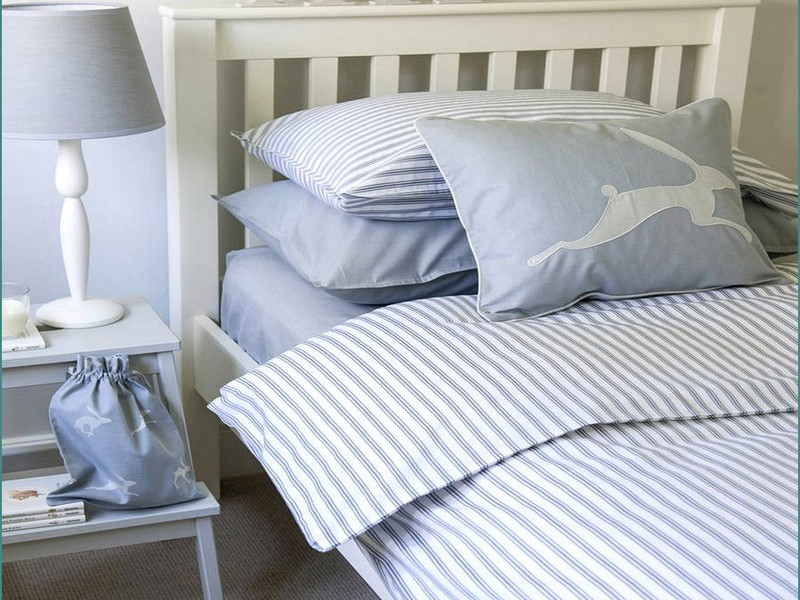Ticking Stripe Duvet Cover Blue