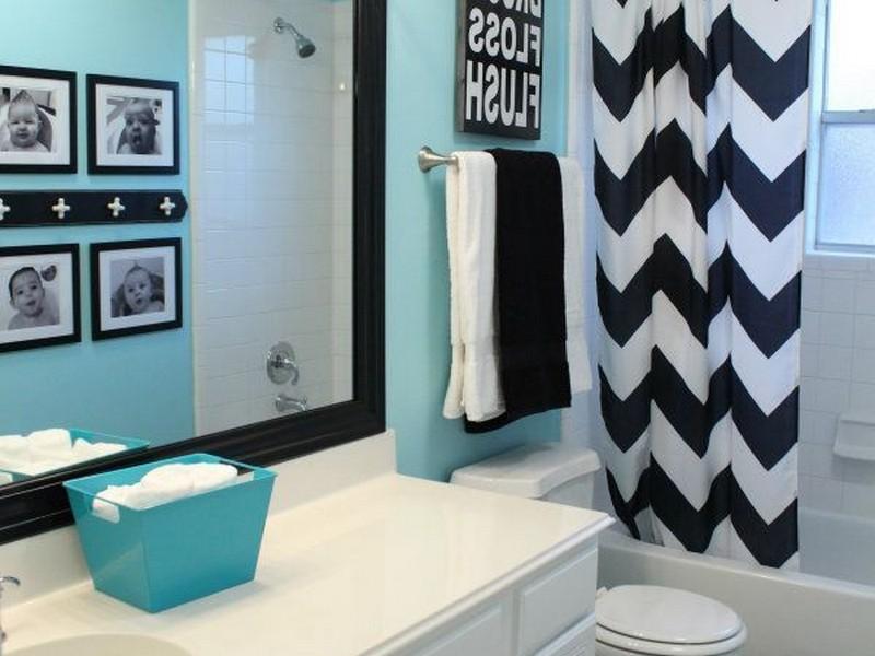 Tiffany Blue And Black Bathroom