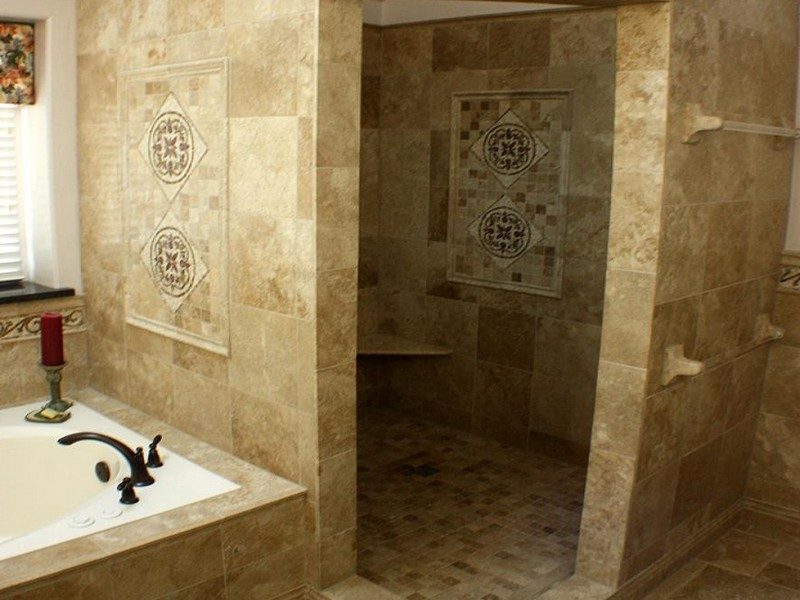 Tiled Bathroom Shower Stalls