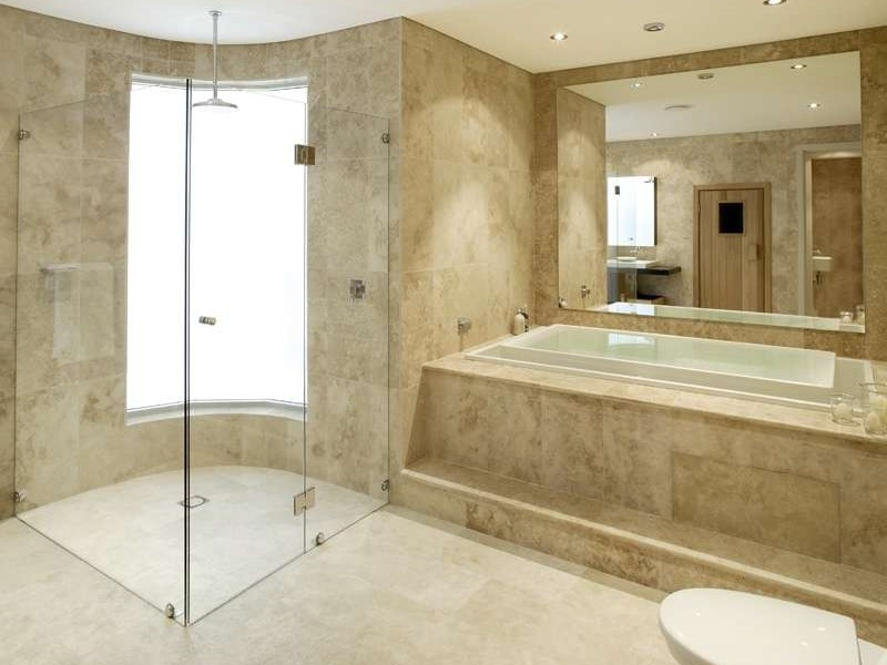 Travertine Tile Bathroom Floor