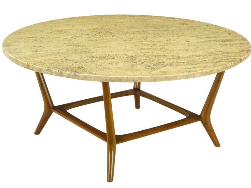 Travertine Top Coffee Table Round