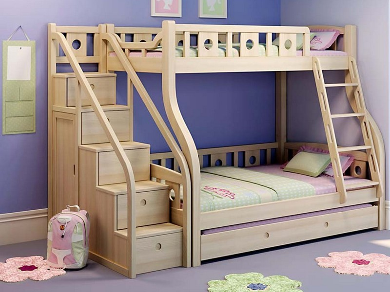 Triple Bunk Bed With Staircase