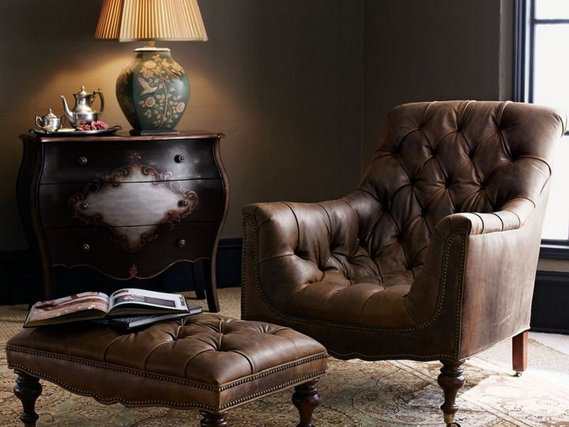 Tufted Leather Club Chair And Ottoman
