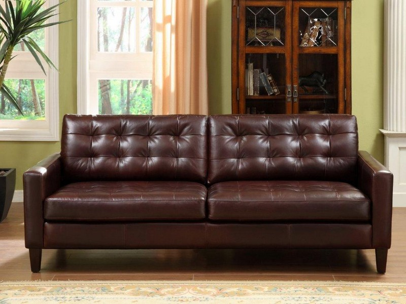 Tufted Leather Sleeper Sofa