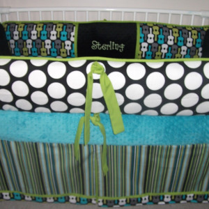 Turquoise And Lime Green Baby Bedding