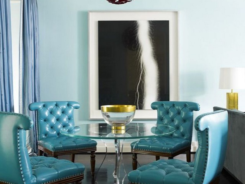 Turquoise Leather Dining Room Chairs
