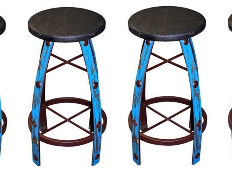 Turquoise Metal Bar Stools