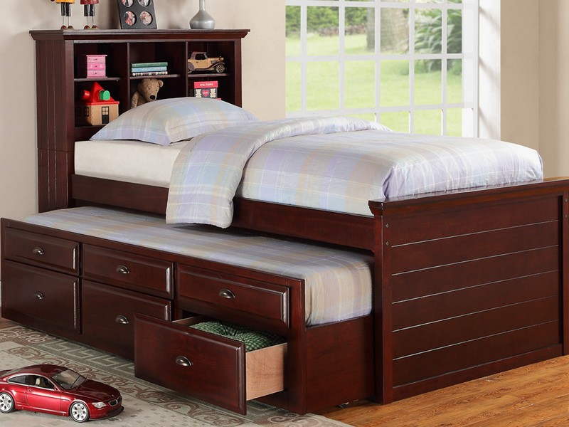 Twin Bed With Storage Drawers And Bookcase Headboard Copy
