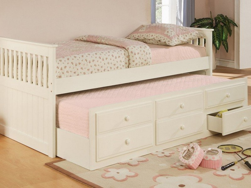 Twin Bed With Trundle White