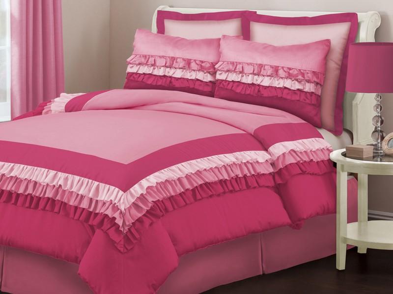 Twin Size Pink Ruffle Bedding