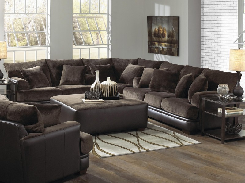U Shaped Leather Sectional With Chaise