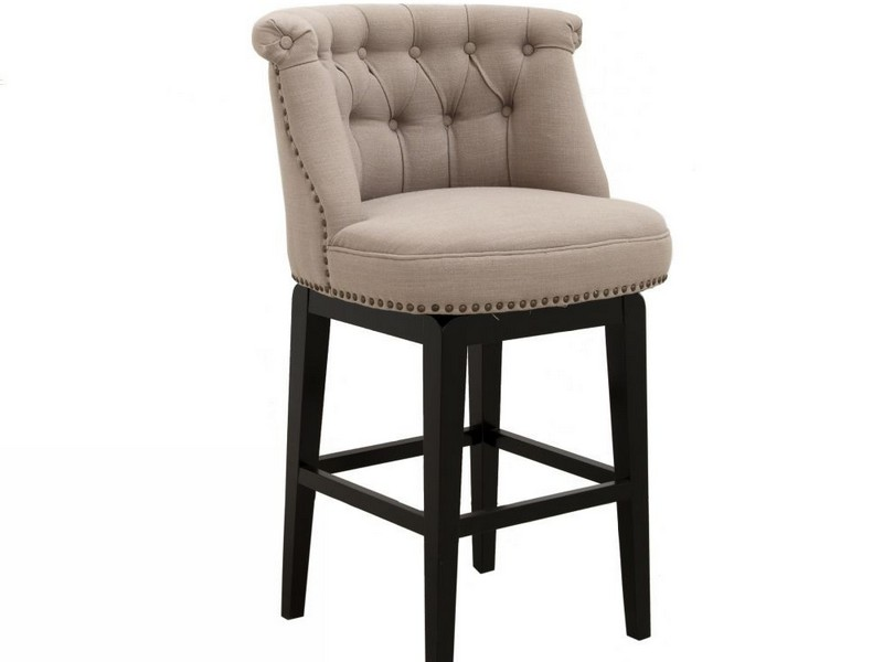 Upholstered Swivel Counter Stools With Backs