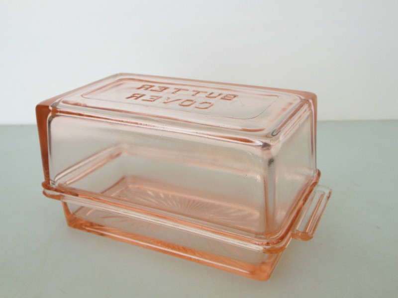 Vintage Glass Butter Dish With Lid
