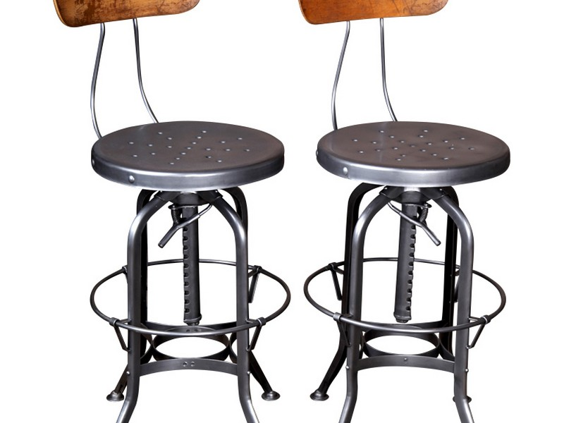 Vintage Industrial Bar Stools With Backs