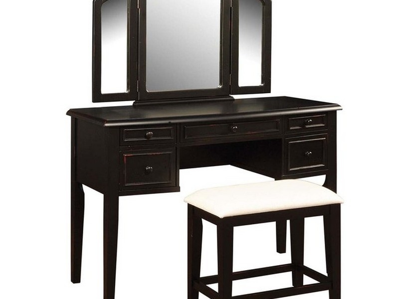 Vintage Vanity Table With Mirror And Bench