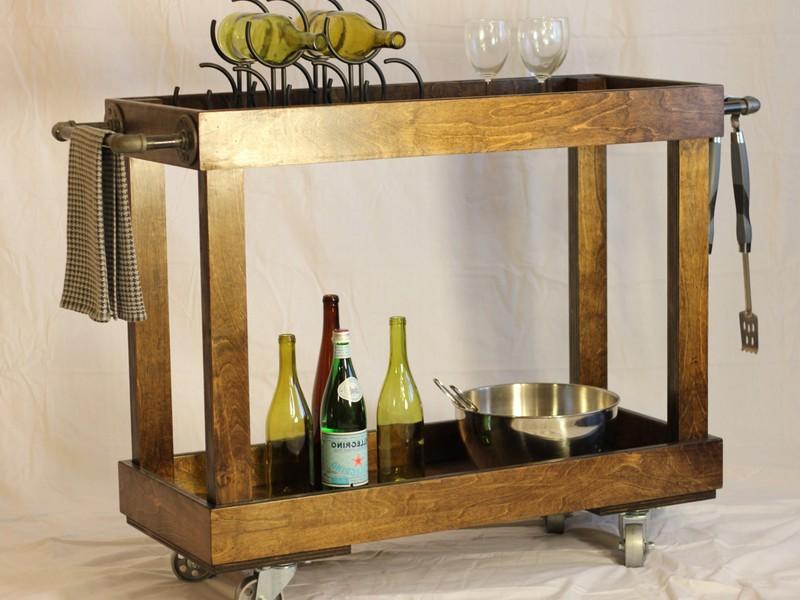 Vintage Wooden Bar Cart