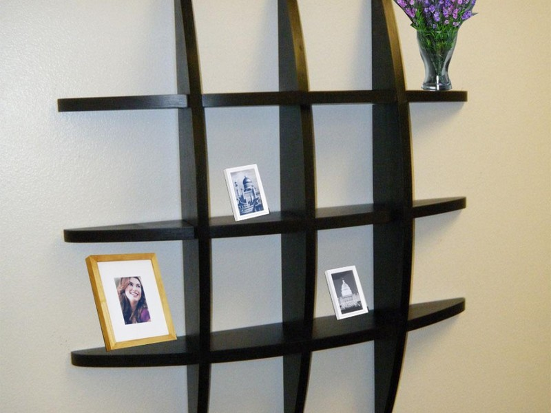 Wonderful Living Room Wall Shelves With Black Wooden Material
