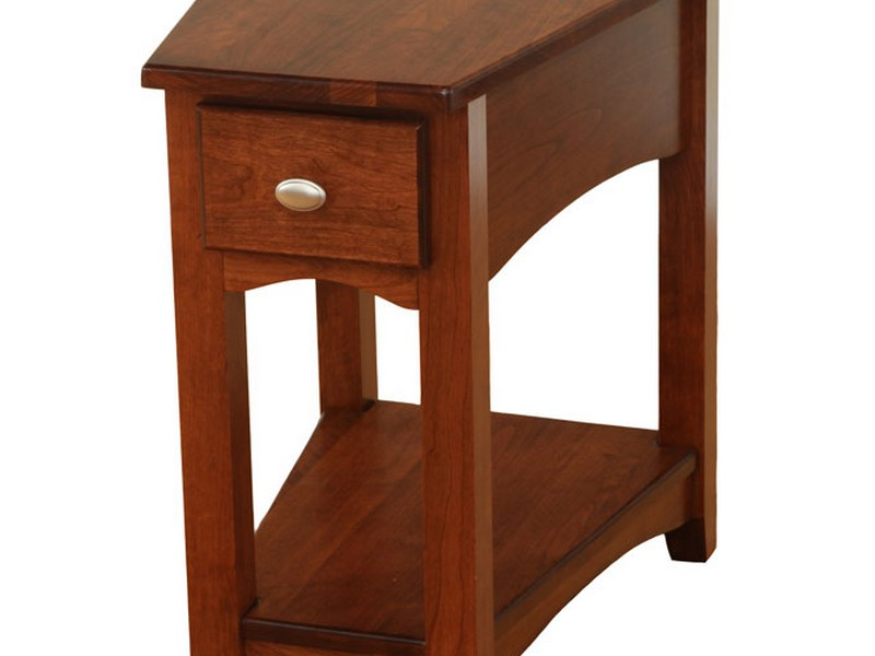 Wedge End Table With Drawer