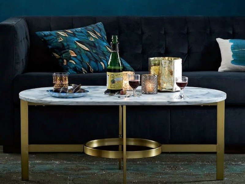 West Elm Marble Oval Coffee Table