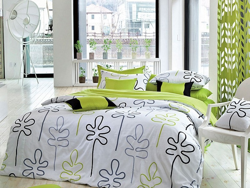 White And Lime Green Duvet Cover