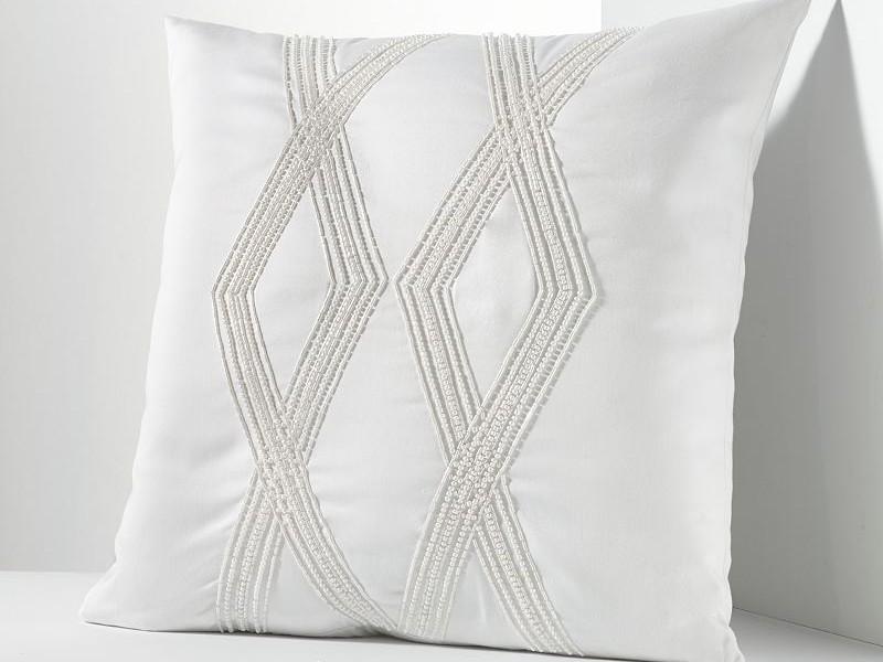 White Beaded Throw Pillows