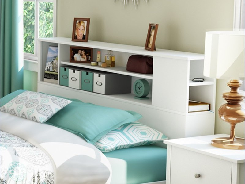 White Bookcase Headboard Full