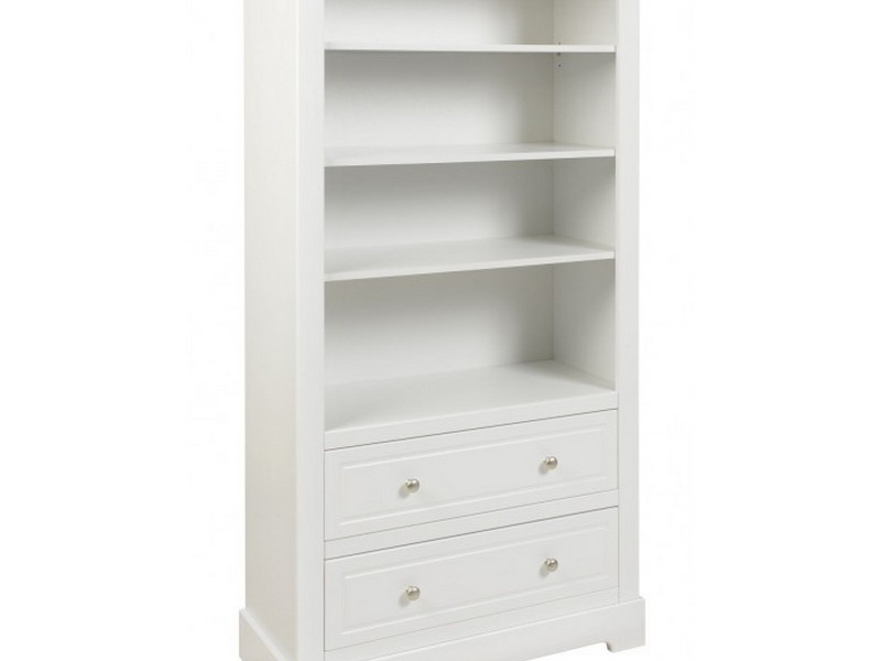 White Bookshelves With Drawers