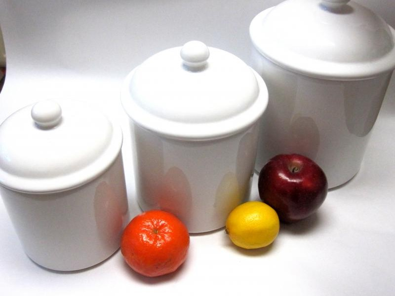 White Ceramic Canisters For The Kitchen