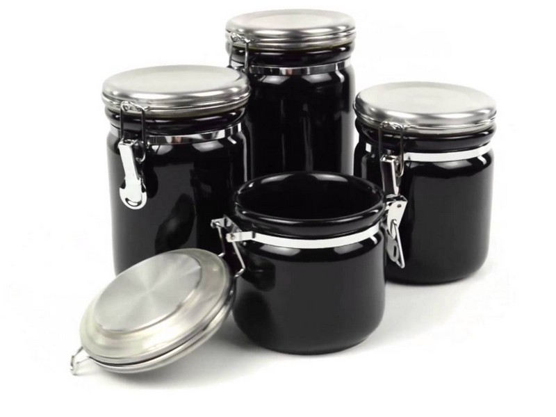 White Ceramic Canisters With Stainless Steel Lids