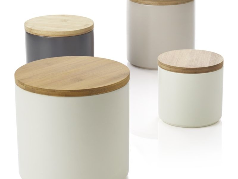 White Ceramic Canisters With Wood Lid